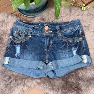Wallflower Cuffed & Distressed Denim Shorts 0